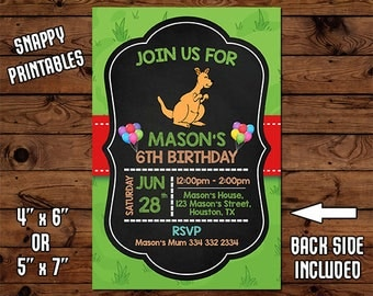 Kangaroo Birthday Invitation, Birthday Invite, Party Invite, Printable, Digital File - 54