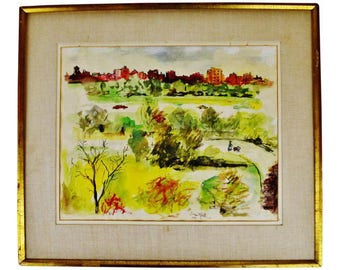 Vintage 1960 Framed Mixed Media Urban Cityscape Painting - Artist Signed