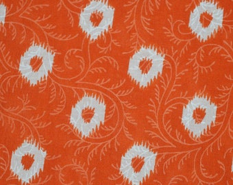 Orange and White Floral Pattern Screen Print Cotton Fabric by the yard