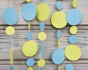 Blue and Yellow paper garland, Yellow baby shower, Yellow bridal shower, Yellow backdrop, Photo backdrop, Yellow photo decorations, Guirland