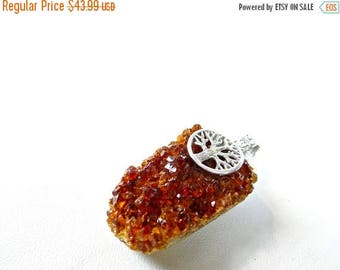 65% off sale--- Madeira Citrine druzy, tree of life sterling silver Pendant/47x28mm
