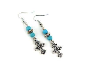 Dangle Earrings, Silver Cross Earrings, Cross Jewelry, Beaded Earrings, Gothic Earrings, Boho Chic, Turquoise Earrings, Silver Boho Earrings