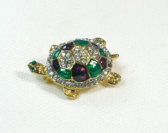 12 K Gold and Rhinestone Sea Turtle Brooch / Pin