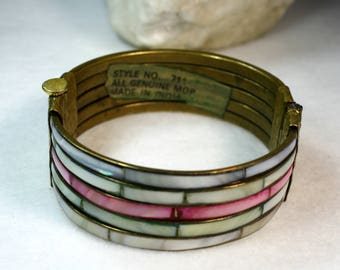 Multi-Colored Mother of Pearl Brass Hinged Cuff Bracelet