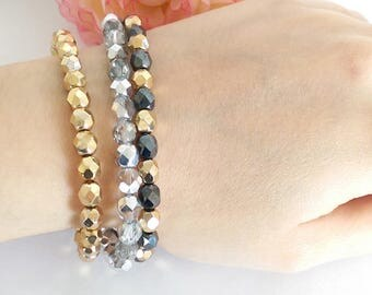 Lots of 3 faceted beads bracelets
