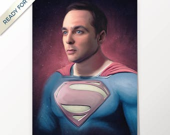 Sheldon Cooper, Jim Parsons, The Big Bang Theory, Superman, artwork, PRINTABLE art, poster, download, digital print, home decor, wall art
