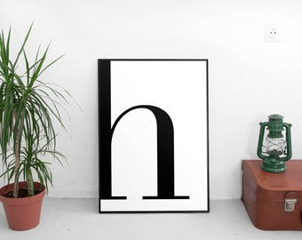 Letter H, H Print, H Poster, Letters Art, Letters Typography, Letter