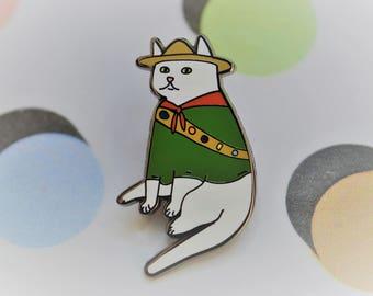 Scout cat hard enamel pin