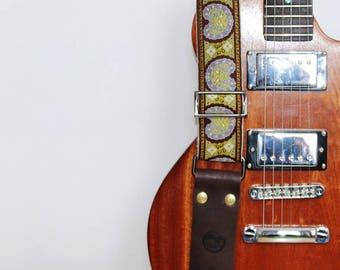 Guitar Strap - Vintage Style Strap - Paisley green & blue - Jacquard Ribbon on Organic Hemp Webbing - Acoustic, Electric and Bass Guitars