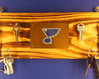 Rustic wall hanging keychain rack with St Louis Blues logo or Your hockey team choice