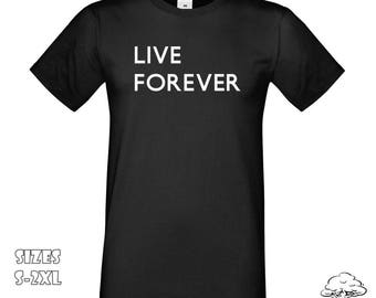 Oasis Live Forever T-Shirt   Oasis Band Logo T-Shirt, Definitely Maybe, Oasis Band T-Shirt