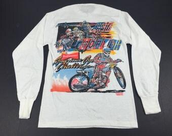 Vintage 80s Chris Agajanian presents usa vs the world flat track motorcycle racing long sleeve t-shirt mens S