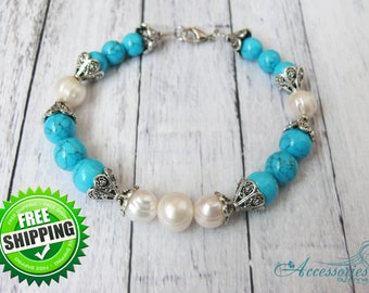 White Natural Pearl Blue Turquoise Bracelet Turquoise Jewelry Natural Crystal Balance stone Blue Green crystal Victorian Gemstone bracelet
