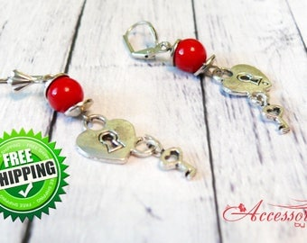 Red coral heart earrings ornament Love Heart valentine Heart jewelry Heart charm Red earrings Natural coral Red coral jewelry Birthday gift