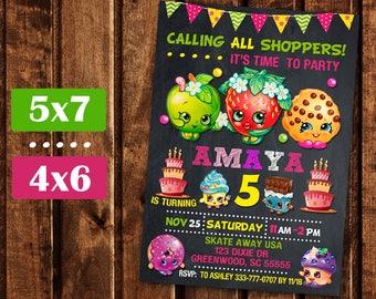 Shopkins Invitation, Shopkins Birthday Invitation, Shopkins Party, Shopkin Invite, Shopkins Printable, Shopkins Birthday Party, Girl Invite.