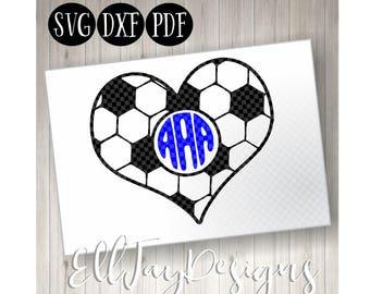 Soccer Ball Svg custom, Soccer ball heart, Soccer, Soccer Monogram svg, soccer ball, soccer circle mongram, silhouette, soccer silhouette