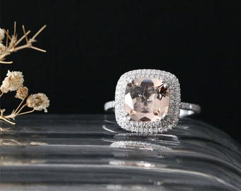 Natural 9mm Cushion Cut Morganite Engagement Ring Double Diamonds Halo Ring Half Eternity Diamonds Ring Stackable 14K White Gold Bridal Ring