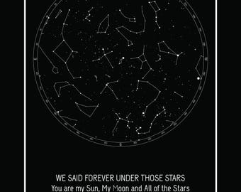 Custom star map. Large digital print | Baby shower | Anniversary gift | Wedding gift | Constellation map | Personalized star chart