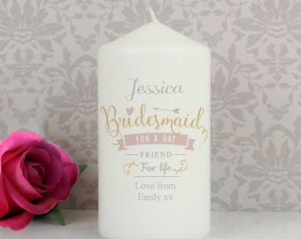 Personalised I Am Glad That You Are Bridesmaid For A Day Friend For Life My Wedding Thank You Gifts Ideas For Candle Her