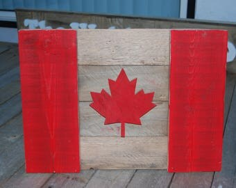 Canadian Flag/Handcrafted/great gift idea/Natural/wood/3D/rustic/reclaimed/wall decor/maple leaf/canadiana/wood flag/wall art