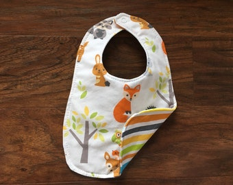 Reversible Bib, Gender neutral bib, Baby Shower Gift, Drool Bib, Baby Bib, Woodland Animals, Trendy Bib, Handmade, Baby Branch Boutique