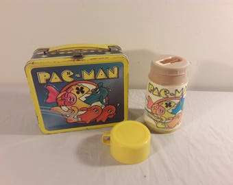 Vintage Pac Man Lunchbox With Thermos
