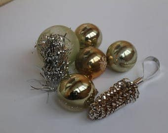 Golden Ornaments, Very nice Christmas Tree Ornaments Vintage Glass USSR Toys,Glass Christmas decorations,Christmas ornaments 22