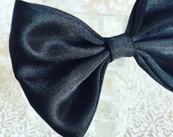 Black silky formal dog bow