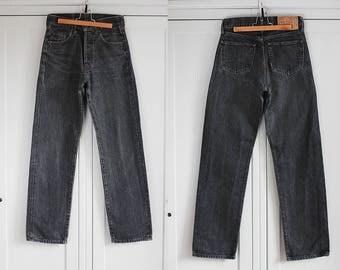 BIG STAR Jeans Vintage denim trousers Gray Graphite High Waisted Retro Pants Unisex Women Men W28 L32 / Medium size