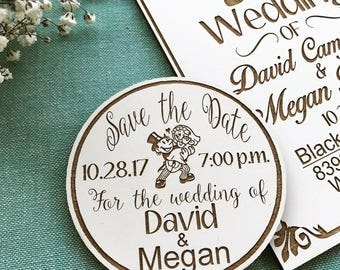 Cartoon-Save the Date wood magnet w/white laminate Finish (set of 30)