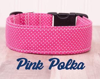 "Pink and White Polka Dot Dog Collar ""Pink Polka"" SMALL"
