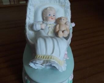Vintage Enesco Music Box Baby in Bassinett with Bear Plays Jesus Loves the Little Children