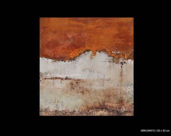 Abstract painting, canvas, 50 x 50 | handmade, art, paintings, original | rust, white | Art, abstract painting, painting abstract