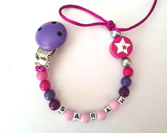 Personalized Fuchsia sarah pacifier