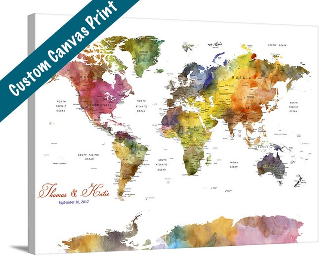 Personalize world map large wall art world map push pin canvas wedding guest book world map wall art canvas print push pin world map customize gumiabroncs Image collections