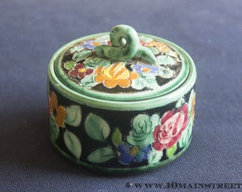 Monaco Cerart vintage 50s floral ceramic trinket box