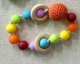 Rainbow Baby Teething Rattle Organic Wood