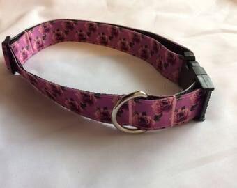Medium dog collar adjustable novelty Purple floral design