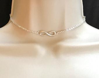 Silver choker, Choker, Choker Necklace, Infinity Necklace, Silver Necklace Infinity Charm, Chokers
