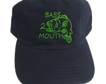 Bass 2 Mouth Funny Embroidered Fishing Navy Blue Dad Hat