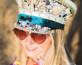 Festival Hat, Burlesque Hat, Captain Hat, Burning Man Hat, Military Hat, Custom