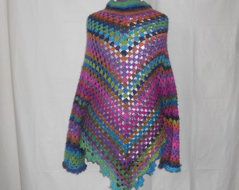 Multicolor poncho with sleeve edging lace