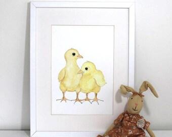 Farm nursery prints - Pretty little hen chicks
