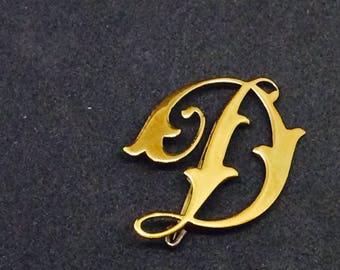 Brooch vintage letter D / Monogram