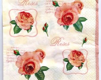 Paper napkins for decoupage, roses decoupage napkins