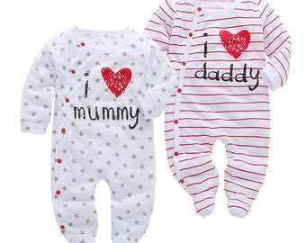Baby Rompers Love Daddy and Mummy