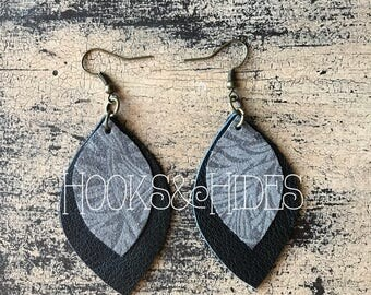 Double Leaf Earrings - Black/Gray Floral | leather earrings, lightweight earrings, leaf earrings