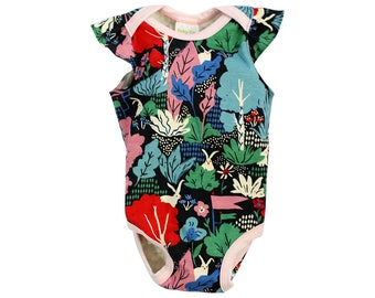 FREE SHIP EVIRY Co. Wild Floral : organic cotton baby bodysuit, baby girls onesie, organic baby onesie, organic baby clothes, floral print