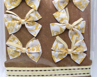 Bow and satin ribbons - white - yellow baroque designs