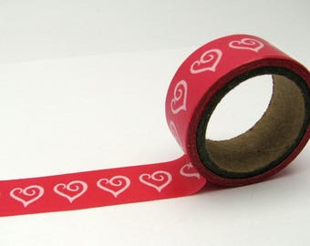 Washi tape - 15 mm - white hearts - pink background